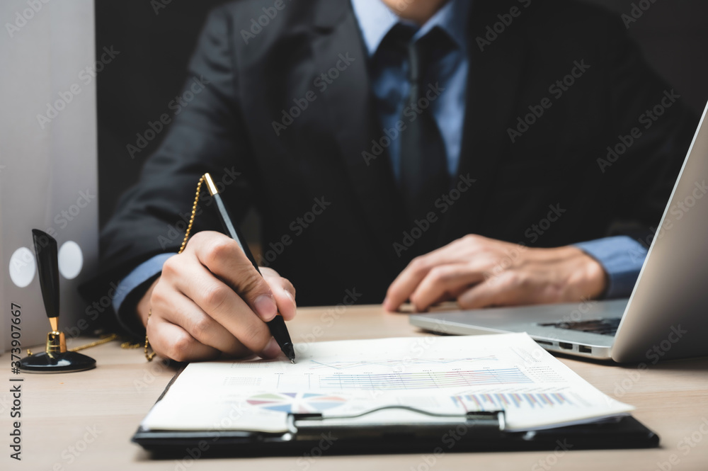 Fototapeta Close up business man signing contract making a deal, classic business success concept
