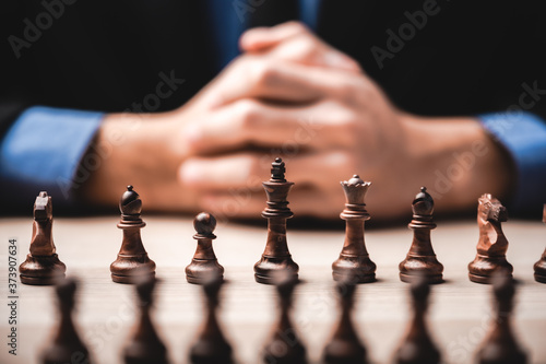 Obraz na plátně business leadership, teamwork power and confidence concept with  chess