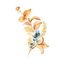 Watercolor Floral Composition. Hand Painted Yellow And Orange Flowers With Leaves Isolated On White Background. Autumn Festival. Botanical Illustration For Design, Print Or Background