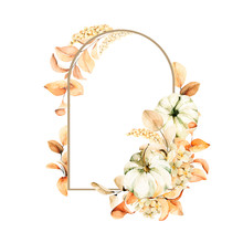 Watercolor Floral Frame. Hand Painted Yellow And Orange Flowers With Pumpkins, Leaves Isolated On White Background. Autumn Festival. Botanical Illustration For Design, Print Or Wedding Card