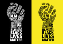 Black Lives Matter, Fighting Fist With Words, Vector