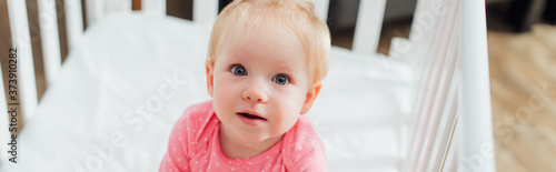 Panoramic crop of infant girl looking at camera in crib Fototapet