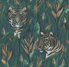 Tiger In Tropical Leaves Hand-...