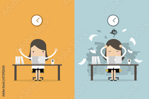 Fototapeta Businesswoman finish working and busy businesswoman unfinished work