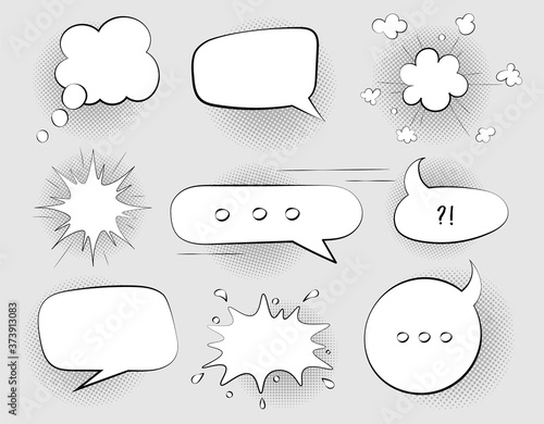 Fotografie, Obraz Set of black and white Speech Bubbles in comics retro style