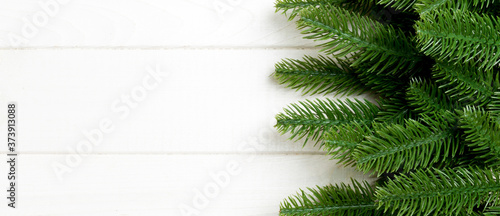 Top view Banner of Christmas background made of fir tree branches Wallpaper Mural