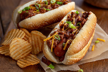 Chili Dog With Cheese And Onions