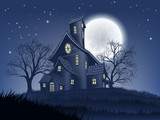 A spooky haunted house mansion Halloween background with a full moon