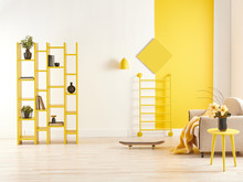 Yellow And White Wall Backgrou...