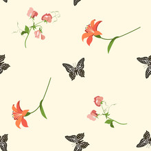 Seamless Vector Illustration With Lily, Sweet Pea And Butterflies On A Beige Background.