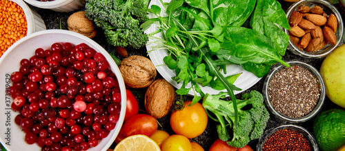 Canvastavla Healthy food background, trendy Alkaline diet products.