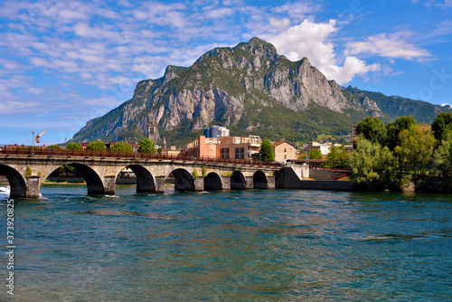 Adda river near Lecco Italy Canvas Print