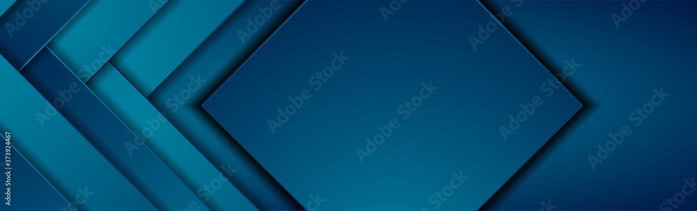 Fototapeta Dark blue tech geometric material abstract background. Corporate vector banner design