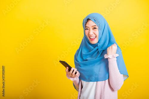 Fotografie, Obraz Asian Muslim Arab, Portrait of happy beautiful young woman Islam religious wear