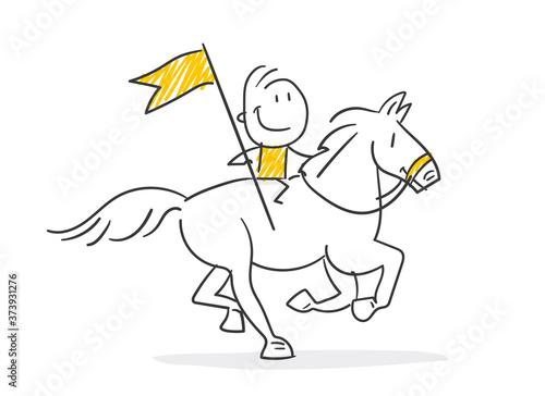 Fotomural Strichfiguren / Strichmännchen: Pferd, reiten, Reiter. (Nr. 534)