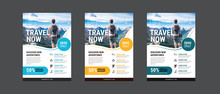Travel Poster Or Flyer Pamphlet Brochure Design Layout Space For Photo Background. Yellow Travel Flyer Template For Travel Agency