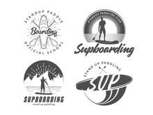 SUP Boarding Logos. Stand Up Paddling Badges. Set Of Vector Emblems With SUP Boards, Surfers And Equipment