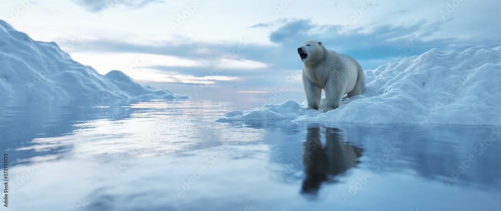 Fototapeta Polar bear on iceberg. Melting ice and global warming.
