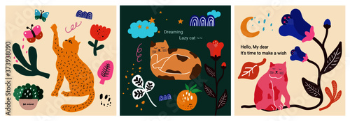 Fototapeta Cute & lazy cat character collection