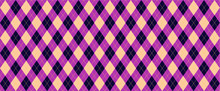 Purple, Pink Harlequin Scottish Argyle Style. Diamond Pattern. Retro Argyle Pattern Checkered Texture From Rhombus, Squares Flat Tartan Checker Vector Gingham And Bluffalo Check Line Christmas, Xmass
