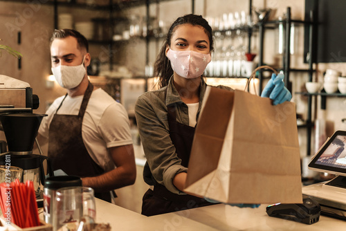 Fototapety, obrazy: Coffee shop owners with face masks, lockdown