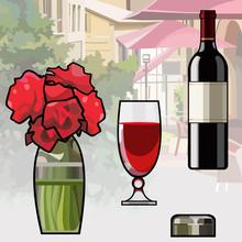 Cartoon Items Wine Bottle Wine Glass Vase Of Flowers