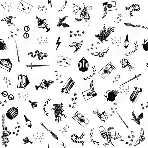 Obraz na plátne Seamless black pattern on white background