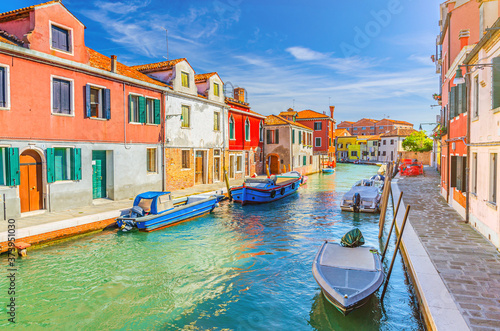 Fotografija Murano islands with water canal, boats and motor boats, colorful traditional buildings, Venetian Lagoon, Province of Venice, Veneto Region, Northern Italy