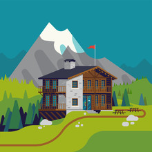 High Quality Flat Design Vector Illustration Of Green Mountain Meadow With Wooden Lodge Resort With High Snow Covered Peak And Spruce Trees On Background