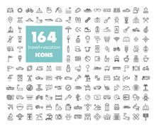 164 Travel Vacation Vector Icons Set