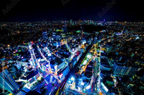 Photographie A night miniature Shibuya crossing wide shot high angle tiltshift