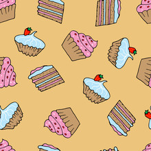 Little Delicious Cupcakes Seamless Pattern