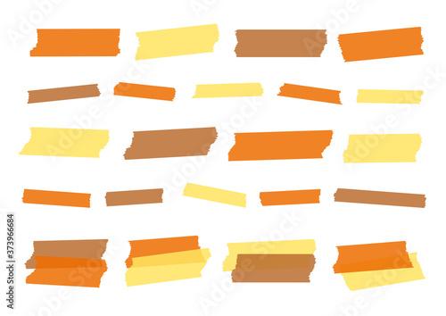 Obraz na plátně 秋 落ち葉 実りの秋無地 マスキングテープ ベクター 素材