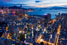 Top Down View Of Hong Kong Cit...