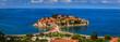 View of Sveti Stefan luxury resort island on the Adriatic sea coast, Montenegro