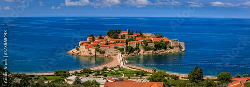 Obraz View of Sveti Stefan luxury resort island on the Adriatic sea coast, Montenegro - fototapety do salonu
