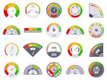 Speedometer Score Level. Good And Low Rating Indication, Goods Speedometer Level, Satisfaction Score Tachometer Indicators Vector Icons Set. Score Level Measure, Rating Customer Gauge Illustration