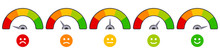 Rate Scale Level. Mood Rating Indicators, Satisfaction Score Graph Ratings, Emoji Barometer Score Level Vector Illustration Icons Set. Rating Level Mood, Indicator Gauge Meter