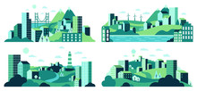 Village Landscape. Minimalist Town Views, City House District, Daytime Landscape With Buildings, Trees And Hills Vector Illustration Set. Town And Village Landscape View, House Building