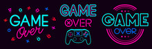 Game Over Signs. Computer Video Game Death Screen Phrases, Last Life Video Gaming Glitch, Video Game Fail Screen Vector Illustration Icons Set. Game Over Text, Final Video Gaming