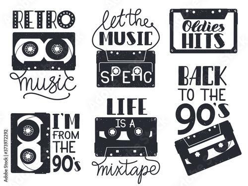 Cuadros en Lienzo Retro cassette lettering