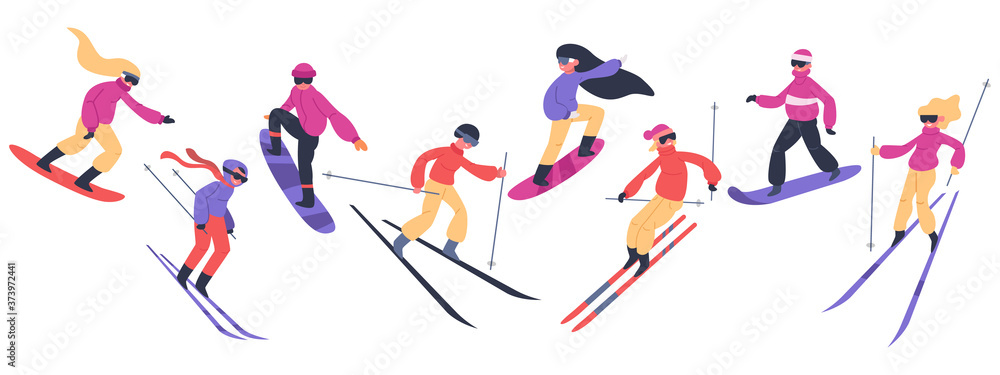 Fototapeta Skiers and snowboarders. Winter sport activities, people on snowboard, young skiers and snowboarders jump on mountain vector illustration set. Extreme snow mountain, snowboard and snowboarding