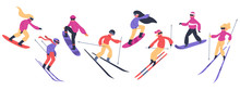 Skiers And Snowboarders. Winte...