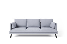 Grey Couch With Pillows On Stu...
