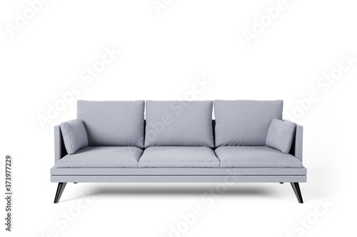 Fototapeta Grey couch with pillows on studio white background. obraz