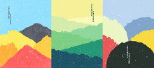 Vector Illustration Landscape. Wood Surface Texture. Rocks, Meadow, Mountain Sunset Scene. Line Wave Pattern. Mountain Background. Asian Style. Design For Poster, Book Cover, Web Template, Brochure.