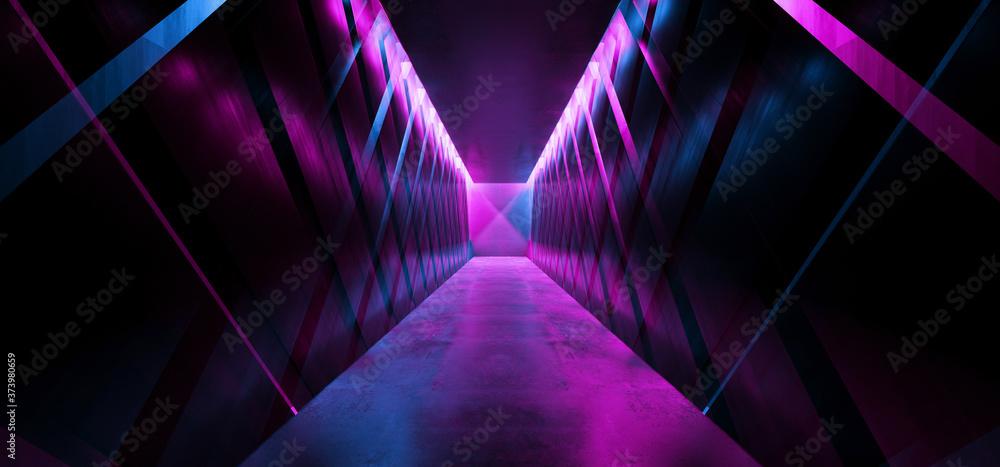 Sci Fi Modern Neon Laser Tunnel Corridor Purple Blue Glowing Metal Reflecting Floor Concrete Walls Futuristic Underground Room Garage Empty Background Arc Lights 3D Rendering