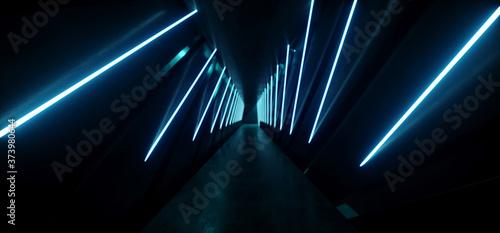 Fotografie, Obraz Sci Fi Modern Neon Laser Fluorescent Tubes Tunnel Corridor Blue Glowing Metal Re