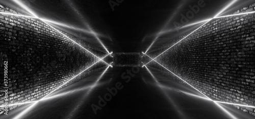 Obraz na plátně Retro Modern Sci Fi Dance Room Brick Walls Neon Laser White Glowing Beams Concre