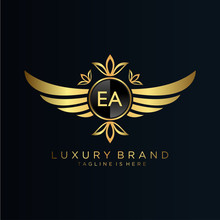 EA Letter Initial With Royal Template.elegant With Crown Logo Vector, Creative Lettering Logo Vector Illustration.